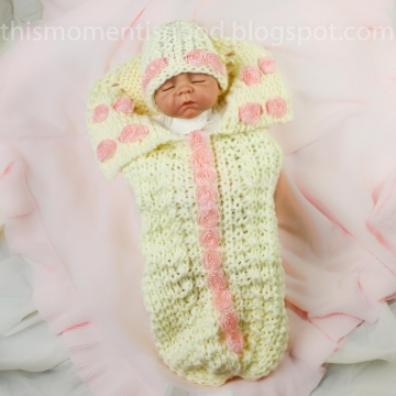 Loom Knit Newborn Cocoon with Roses PATTERN;  Plus coordinating hat in two sizes, Newborn and 3 mos+.  PATTERN ONLY!
