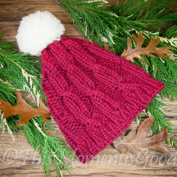 Loom Knit Lace Cable Hat PATTERN. The perfect unisex cable hat for winter weather! Immediate PDF PATTERN download. Ski cap, ski hat Pattern.