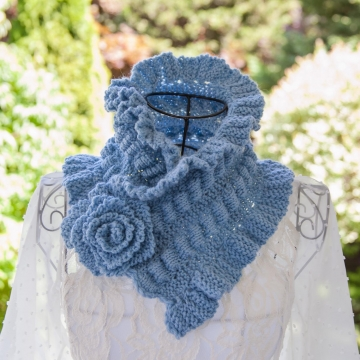 Loom Knit Scarf Cowl PATTERN Victorian Neckwarmer Cowl PATTERN with Ruching, Ruffles and a Rose! PDF is available for immediate download!