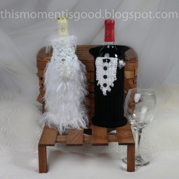 Loom Knit Wine Bottle Cover Pattern Bride & Groom!  (2) PATTERNS included. Great Bridal Shower Gift To Make!  PATTERN ONLY!!!