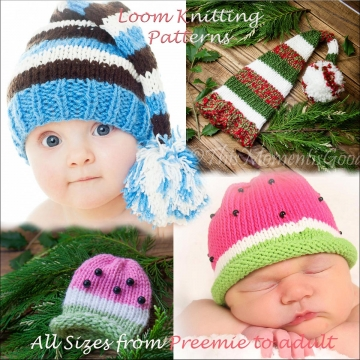 Loom Knit Elf & Watermelon Hat PATTERNS. 2 Hat PATTERNS in All sizes from Preemie to Adult. Use any Lg Gauge round loom. PDF download.