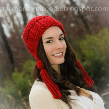 Loom Knit Earflap Hat With Tassels Pattern. PATTERN ONLY! Adult/Teen Hat Pattern. Available for instant download
