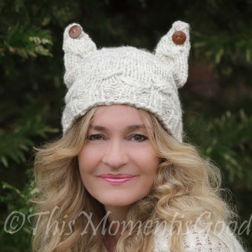 Loom Knit Cat Hat PATTERN. The Cabled Kitty Hat with Button ears PATTERN.  Cables are optional! Fits Teens, Adults. Instant PDF download.