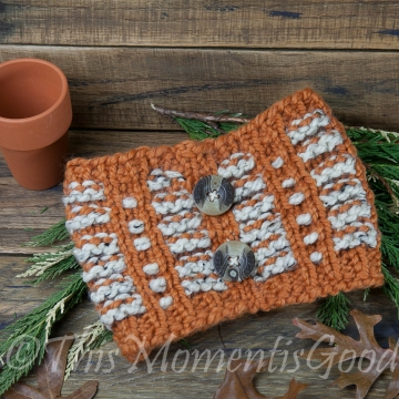 Loom Knit Pumpkin Spice Cowl PATTERN. Perfect for fall! Child, Teen and Adult Sizes. Instant PDF Download. Beginner Friendly Pattern!
