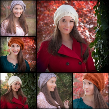 Loom knit beret collection, 3 patterns included; Actually love beret, cable beret and painters beret. Sizes vary. PDF Pattern download.
