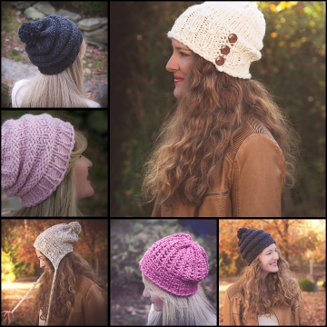 Loom knit bulky hat PATTERN collection. 5 patterns included. Mock cable, earflap, eyelet, lace, textured, knit purl hats. adult and teen sizes.