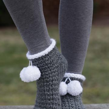 Loom Knit Slipper Socks