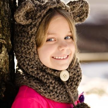 Loom Knit Bear Hood