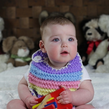 Loom Knit Rainbow Bib