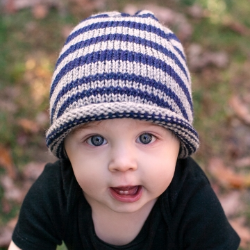 "Loom Knit Striped Hat PDF PATTERN. ""City Stripes"" Hat, Urban hat that can be made fitted or Slouchy."