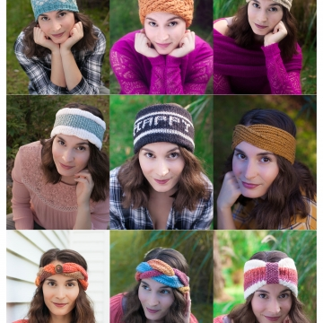 Loom Knit Headband/Earwarmer Collection I. (10) Patterns Included for Fair Isle, Tuck Stitch, Turban, Sporty, Extra-Warm Head Warmers. PDF PATTERN Download.