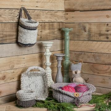 Loom Knit Basket PATTERNS,  Bread Basket, Yarn Basket, Door Knob Basket, Round Basket, Rectangular Basket, (4) PDF PATTERNS included.