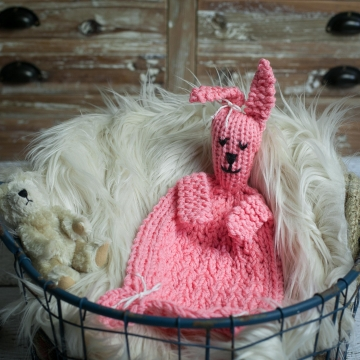 Loom Knit Bunny Lovey Pattern, Bunny Blanket Toy PDF PATTERN. Great Homemade Gift Idea For Baby!