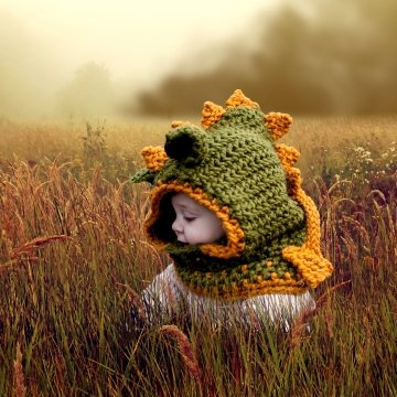 Loom Knit Dragon Hood PATTERN. PDF Download. Sized for 9 mos to adult.