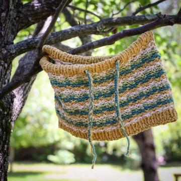 Loom Knit Drawstring Cowl PATTERN, Cotton Neckwarmer With Easy Colorwork Wave Pattern, 4 Season Loom Knitting Pattern PDF.