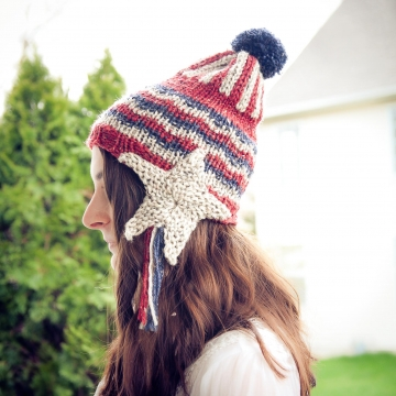 Loom Knit Earflap Hat PATTERN. Shooting Star Earflaps, Patriotic, Seaside, Moon/stars Theme Hat PATTERN. Instant PDF download. Adult/teen.