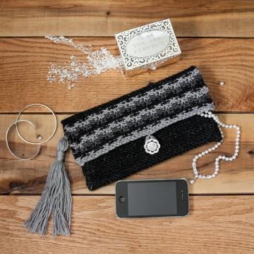 Loom Knit Clutch, Purse, Evening Bag, Wristlet PATTERN. Elegant Evening Bag, Wedding and Party Purse. 1 PDF Pattern.
