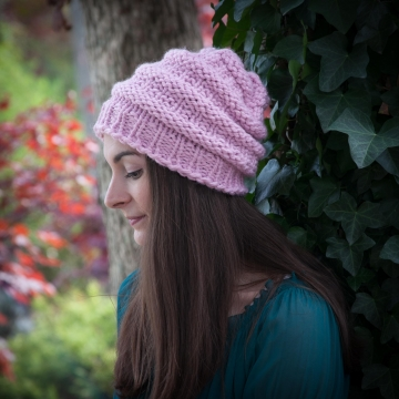 Loom Knit Hat Pattern, Slouch Hat, Beanie, Textured, Bulky, Chunky Knit Hat. PDF PATTERN Download.