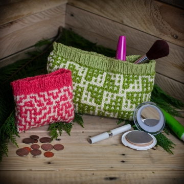 Loom Knit Wallet, Make Up Bag 2 PATTERN Set. Mosaic Wallet and Travel Case/Make Up Bag PDF Pattern.