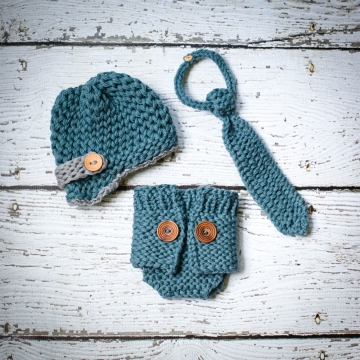 Loom Knit Diaper Cover, Newsboy and Tie Set PATTERN. The Baby Boy Collection I, 3 Patterns included.