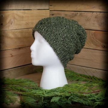 Loom Knit Men's Hat Pattern, Pinecone Stitch, Ski Cap, Tweed, Unisex, Winter, PDF PATTERN Download.