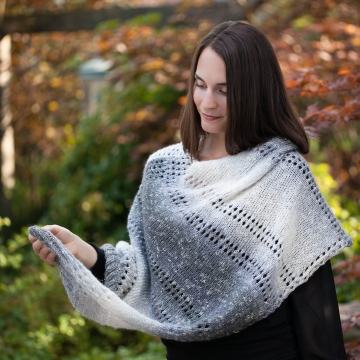 Loom Knit Poncho Cape Pattern. The Grey Skies Poncho Has An Elegant Design and Is An Easy Loom Knit. PDF PATTERN Download.