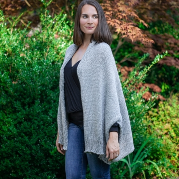 Loom Knit Shrug Style Cardigan Pattern. Oversized fit, Warm Winter Sweater. PDF PATTERN Download.
