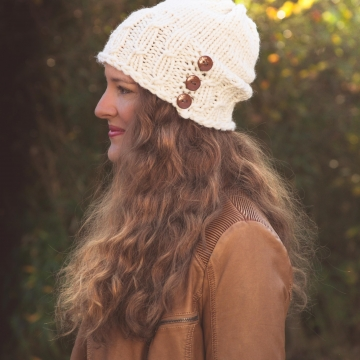 Loom Knit Hat Pattern, Meadowlands Staggered Cable Hat PATTERN, Bulky Hat Pattern, PDF Download.