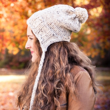 Loom Knit Earflap Hat PATTERN, Split Brim Hat, Bulky, Chunky Knit, Tassels, Braids, PDF PATTERN Download.