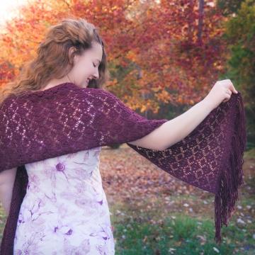 Loom knit lace shawl, wrap, scarf PATTERN. PDF Download.