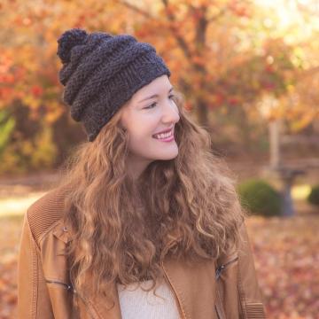 Loom Knit Hat PATTERN, City Storm Urban Style Hat, beginner, slouch, beanie hat. PDF Download.