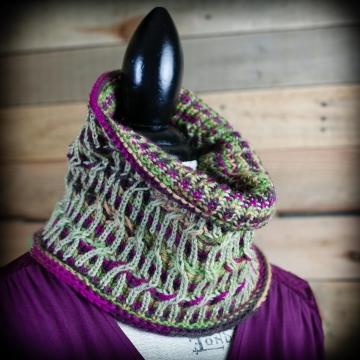 Loom Knit Brioche Cable Cowl PATTERN, Neckwarmer, Scarf, Fancy Brioche Knitting, Teen/Adult Size PDF PATTERN Download, Parisian Garden Cowl.