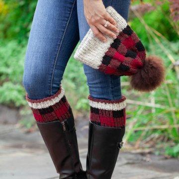 Loom Knit Buffalo Plaid Hat & Boot Toppers Pattern Set. Extra Warm Winter Loom Knit With Easy Colorwork. PDF PATTERN Download.