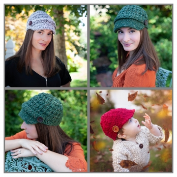 Loom Knit Newsboy Hat PATTERN Collection. 3 PDF Digital Patterns Included. Sized For Baby 6 mos+ to Adult.