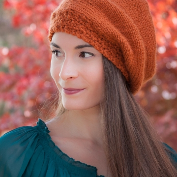 Loom knit beret, hat PATTERN, painters cap, slouch hat, adult teen size, PDF pattern download.
