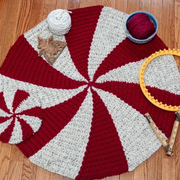 Loom Knit Rug PATTERN. Starlight, Peppermint, Pinwheel Color Design. 3 sizes, Large Rug, Table Pad and Coaster. PDF Digital Download PATTERN