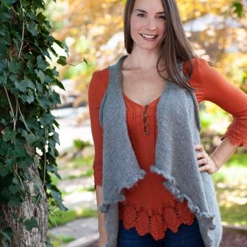 Loom Knit Waterfall Vest PATTERN. 2 Edge Options Ruffle or Garter.