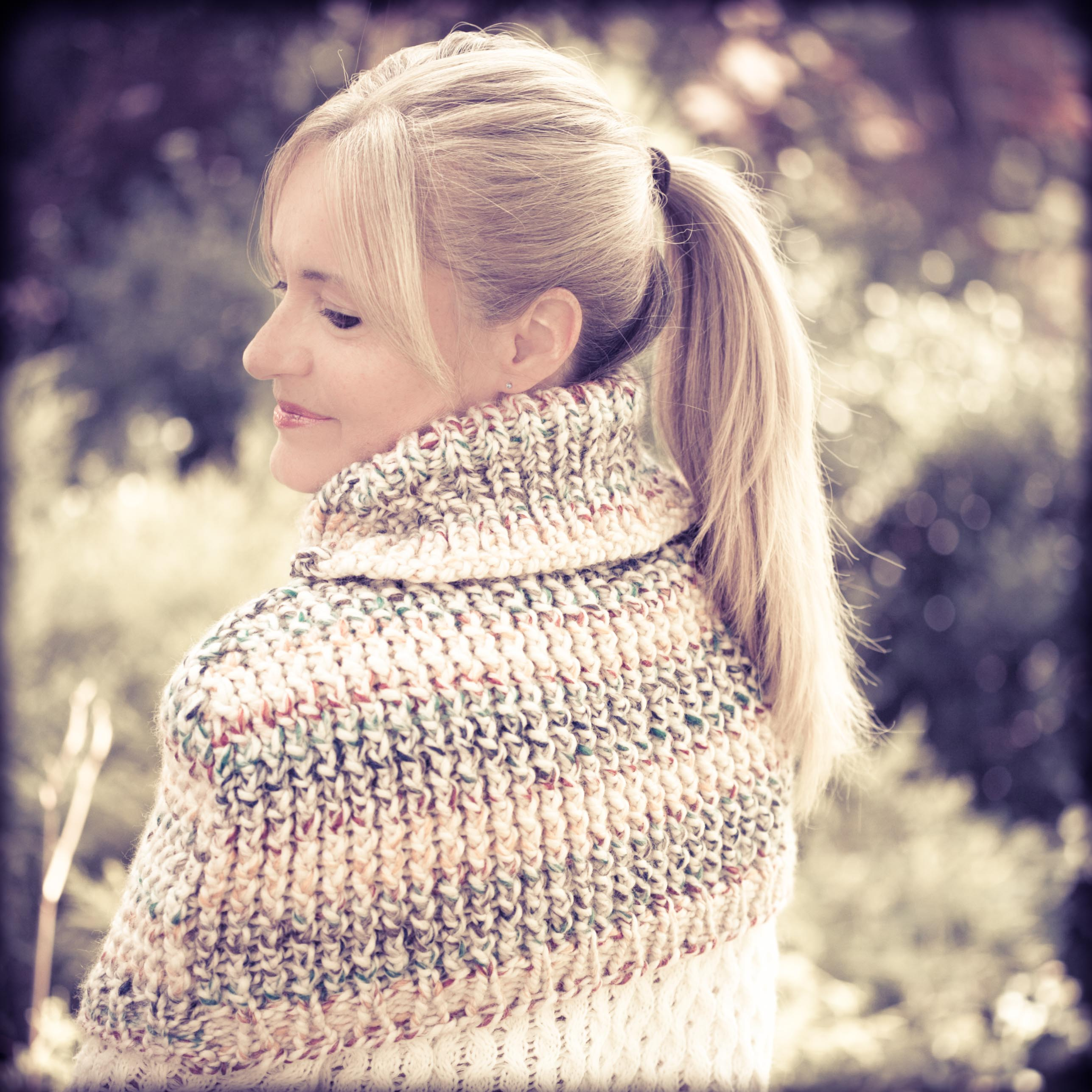 Knitting Pattern Turtleneck Capelet : Loom Knit Cape, Capelet, Poncho PATTERN This Moment is Good